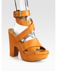 Rochas Strappy Leather Platform Sandals - Lyst