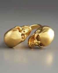 Alexander McQueen Skull Bypass Ring gold - Lyst
