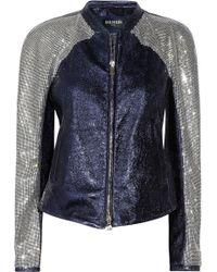 Balmain Crystal-embellished Leather Jacket - Lyst