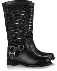 Dolce & Gabbana Leather and Mesh Biker Boots - Black