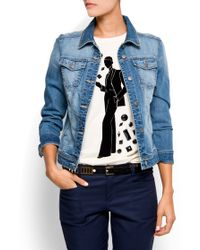 Mango Distressed Effect Denim Jacket - Lyst