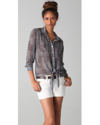 Rory Beca - Dol Print Tie Front Blouse - Lyst
