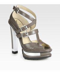 B Brian Atwood Teatro Leather Platform Sandals - Gray