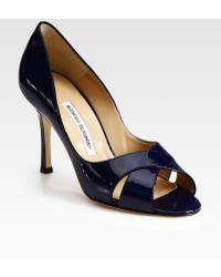 Manolo Blahnik Patent Leather Peep Toe Pumps - Lyst
