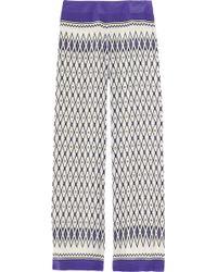 Alberta Ferretti Wide-leg Printed Silk Pants - Lyst