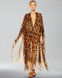 Michael Kors Leopard Chiffon Caftan - Lyst