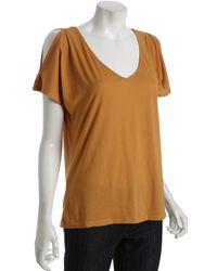 Rebecca Beeson - Mustard Jersey Cutout Shoulder T-shirt - Lyst