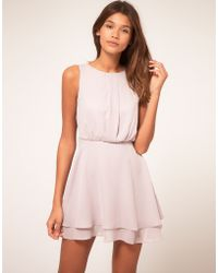 ASOS Collection Asos Sleeveless Mini Dress with Double Skirt pink - Lyst