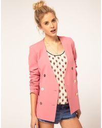 ASOS Collection Asos Double Breasted Blazer with Gold Buttons - Lyst