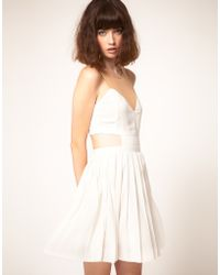 StyleStalker Currency Mesh And Cut Out Dress - White