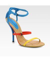 Bottega Veneta Leather Colorblock Sandals - Blue