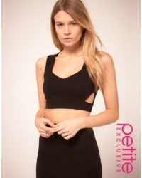 Asos Petite Exclusive Crop Top With Cut Out Detail - Lyst