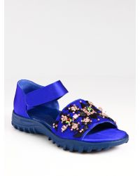 Christopher Kane | Embroidered Silk and Satin Sandals | Lyst