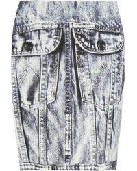Emma Cook - Denim-print Cotton and Silk-blend Mini Skirt - Lyst