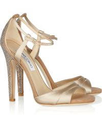 Jimmy Choo Tema Crystal-embellished Satin and Suede Sandals - Lyst