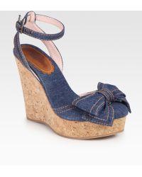 RED Valentino Denim Wedge Bow Sandals - Blue