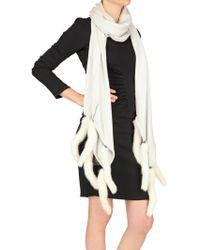 Hotel Particulier - Minktail Trim Wool Cashmere Knit Scarf - Lyst
