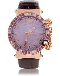 John Galliano Rose Gold with Amethyst & Topaz Watch - Purple