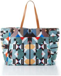 Cynthia Vincent - Geometric-print Canvas Tote - Lyst