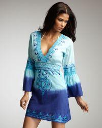 Debbie Katz - Kimono Dip-dye Tunic, Blue - Lyst