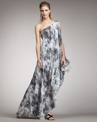 Halston Heritage Printed One-shoulder Gown - Lyst