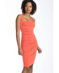 Nicole Miller Open Back Jersey Sheath Dress - Lyst