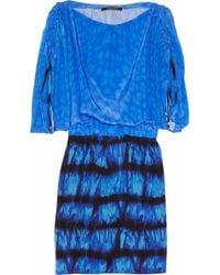 Roberto Cavalli Printed Ruched Silk Crepe De Chine Dress blue - Lyst