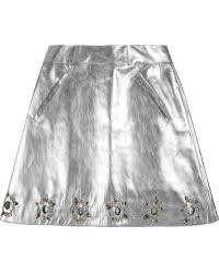 Felder Felder - Jill Embellished Metallic Leather A-line Skirt - Lyst
