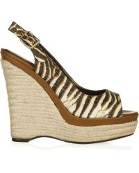 Roberto Cavalli Zebra-print Wedge Sandals - Multicolor