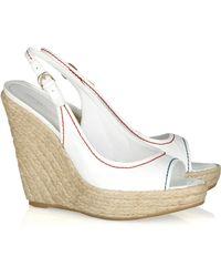 Sergio Rossi Patent Leather Espadrille Wedge Sandals - Lyst