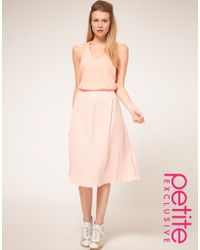 ASOS Collection Asos Petite Exclusive Pleated Midi Skirt - Lyst