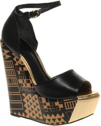Asos Asos Hunt Super High Leather Wedges with Egyptian Print - Lyst
