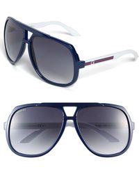 Gucci Logo Temple 63Mm Aviator Sunglasses - Lyst