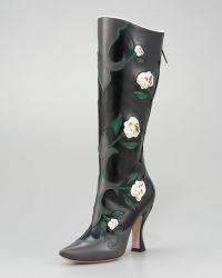 Miu Miu Tall Feather Rose Applique Boot - Lyst