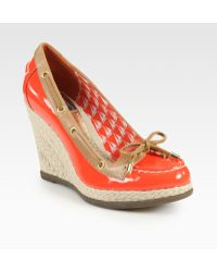Milly Leather and Patent Leather Espadrille Wedge Boat Shoes - Lyst