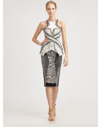 Peter Pilotto Printed Top silver - Lyst