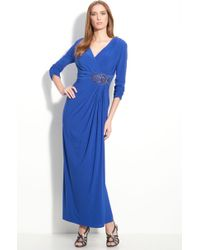 Alex Evenings Beaded Ruched Jersey Gown - Lyst