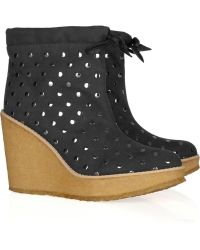 Stella McCartney Barney Studded Faux Suede Wedge Ankle Boots - Lyst