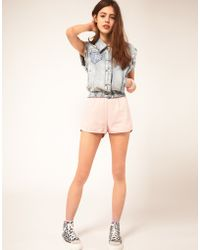 American Apparel Coloured Denim Shorts - Pink