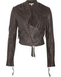 Twenty8Twelve Claudia Cropped Washed-leather Jacket - Grey