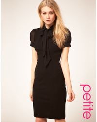ASOS Collection Asos Petite Sexy Pencil Dress with Chiffon Pussybow - Lyst