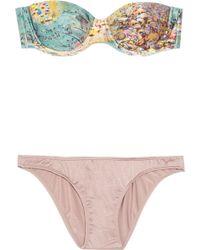 Zimmermann Amity Underwired Bandeau Bikini - Lyst
