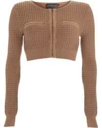 Antipodium - Taupe Waffle Knit Cropped Cardigan - Lyst
