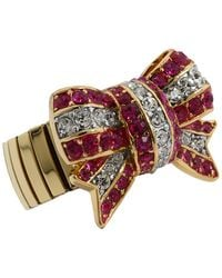 Juicy Couture Starlet Escape Stretch Pave Bow Ring - Lyst