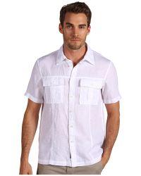 Michael Kors Short Sleeve Linen Shirt - Lyst