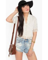 Nasty Gal Ruffled Lace Blouse - Lyst