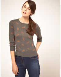 NW3 by Hobbs Nw3 Paper Clip Intarsia Sweater - Green