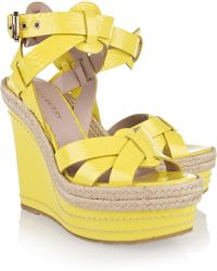 Mulberry Patent-leather Wedge Sandals - Yellow