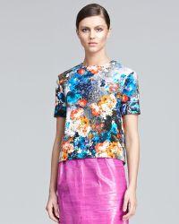 Peter Som - Floral-print Tweed Top - Lyst