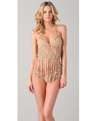 Indah Camila Crochet Bikini Top - Natural